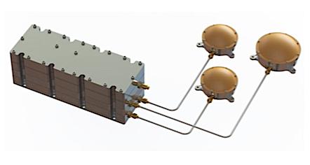 L'instrument LaRa et son système d'antennes développé à l'UCL. © Antwerp Space