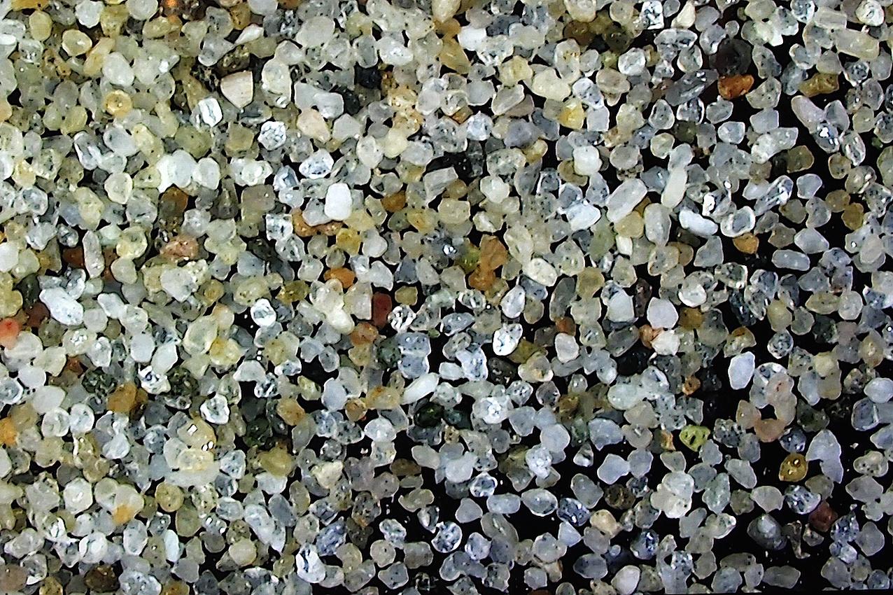 Grains de sable fin, vus au microscope. © Laetitia Theunis.