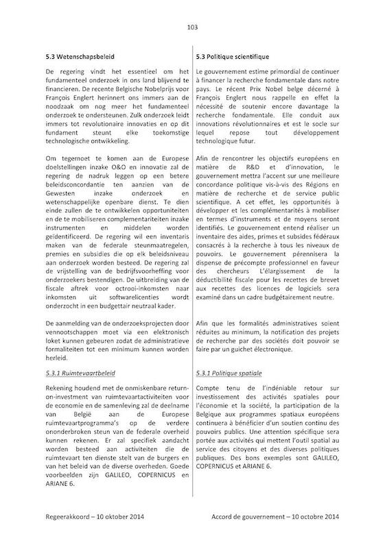 Accord de gouvernement 2014 Politique Scientifique (1)