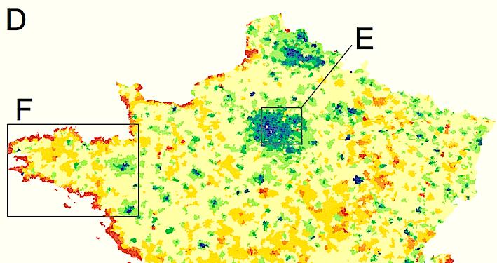 Les appels par GSM trahissent les mouvements de population en temps réel. En été, Paris se vide (en bleu) et les zones balnéaires font le plein. © Catherine Linard