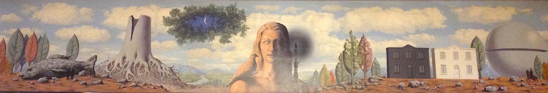 """""""La Fée Ignorante"""", une fresque monumentale de Magritte, orne la salle des Congrès du Palais des Beaux-Arts de Charleroi."""