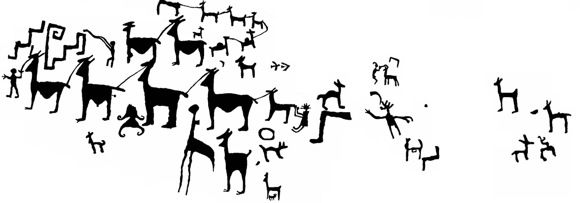 Troupeau de lamas, pétroglyphe chicha (Bolivie), dessin de Françoise Fauconnier.