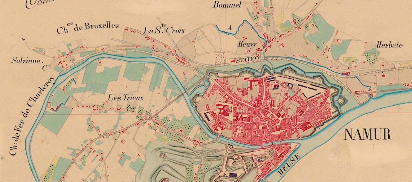 Atlas des réductions cadastrales, Plan de la Commune de Namur, 1850. © IGN