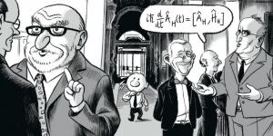 Le Monde quantique passe par Bruxelles. Ici, une évocation du Conseil de physique Solvay de 2011, avec à gauche, le Pr Englert (ULB), futur prix Nobel de physique (en 2013).