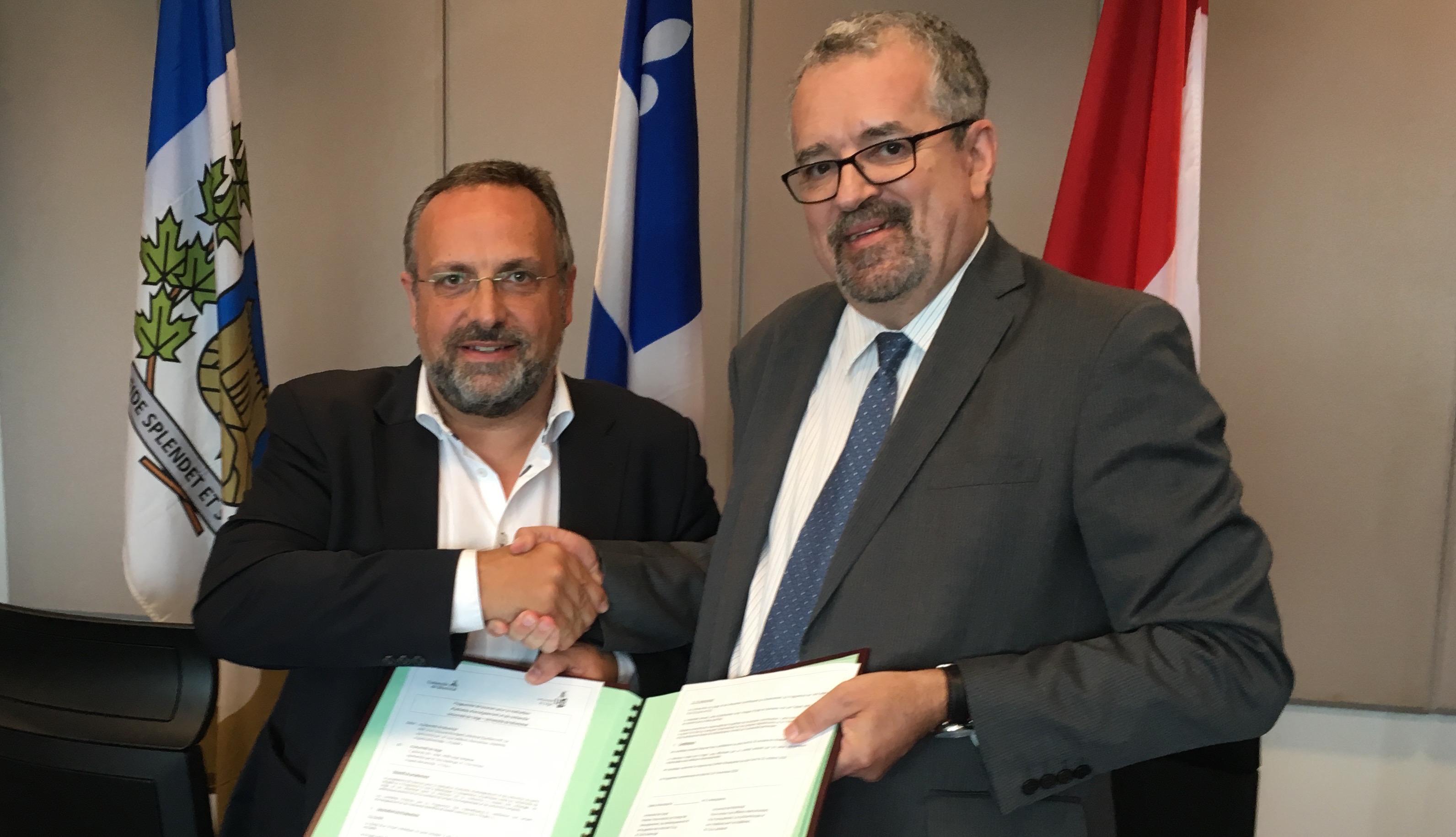 Signature, le 7 septembre dernier, à Montréal d'un accord d'échanges de personnel académique entre l'UdeM et l'ULg.