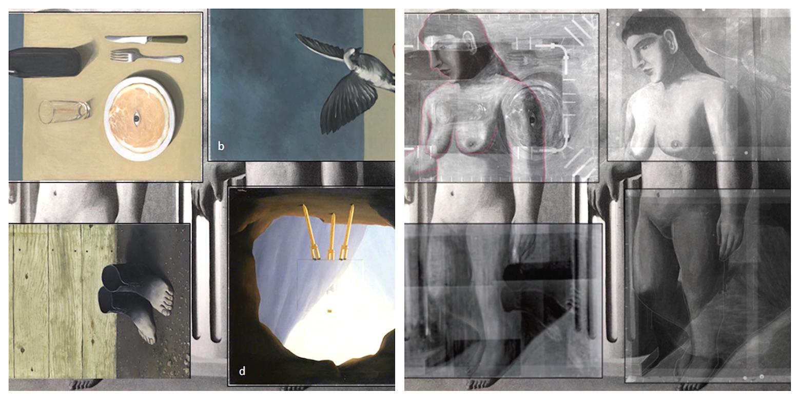 """Le puzzle de la """"Pose enchantée, de René Magritte, reconstitué en Belgique. © 2017 Succession René Magritte-SABAM ULiège"""
