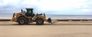 Rehaussement du niveau de la plage d'Ostende avec du sable prélevé au large. © DailyScience