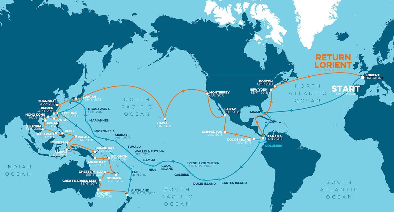 Itinéraire de l'expédition Tara Pacifique.
