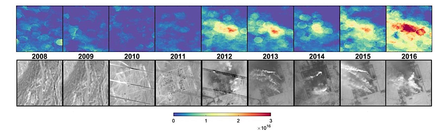 Images d'une source d'émission de NH3 localisée en Chine, concomitante à la construction d'un complexe industriel. En bas : photographies des satellites Landsat (2008 – 2016) montrant la construction du complexe industriel. En haut : Mesures d'ammoniac par IASI pour les mêmes années. © Martin Van Damme et Lieven Clarisse / ULB (IASI); © Google / NASA (Landsat)