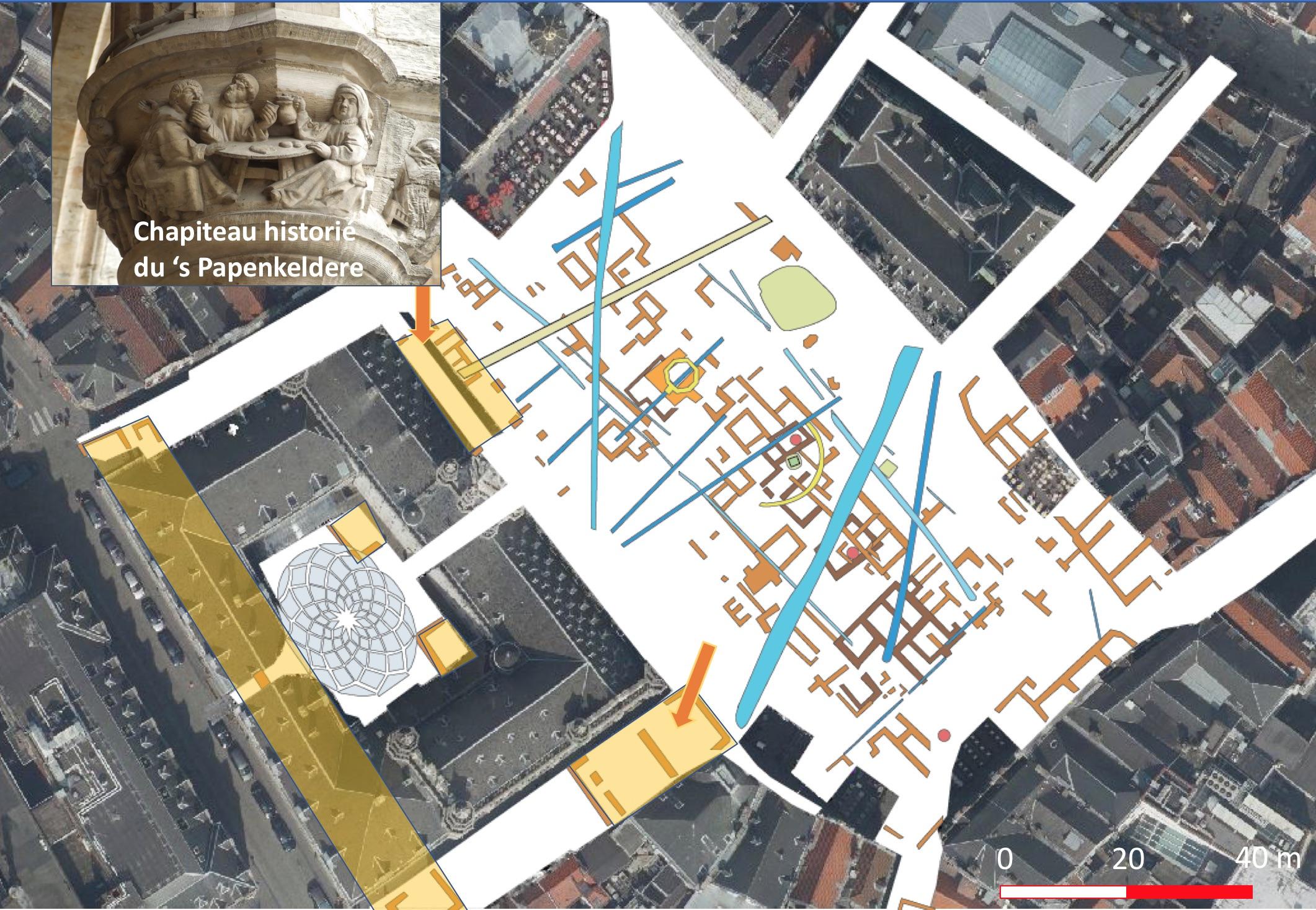 Les tracés en couleur orange trahissent l'existence de soubassements de constructions datant d'avant 1695. Dont une taverne, située devant l'aile droite de l'Hôtel de Ville ou encore une série de bâtiments au centre de la place actuelle. © François Blary