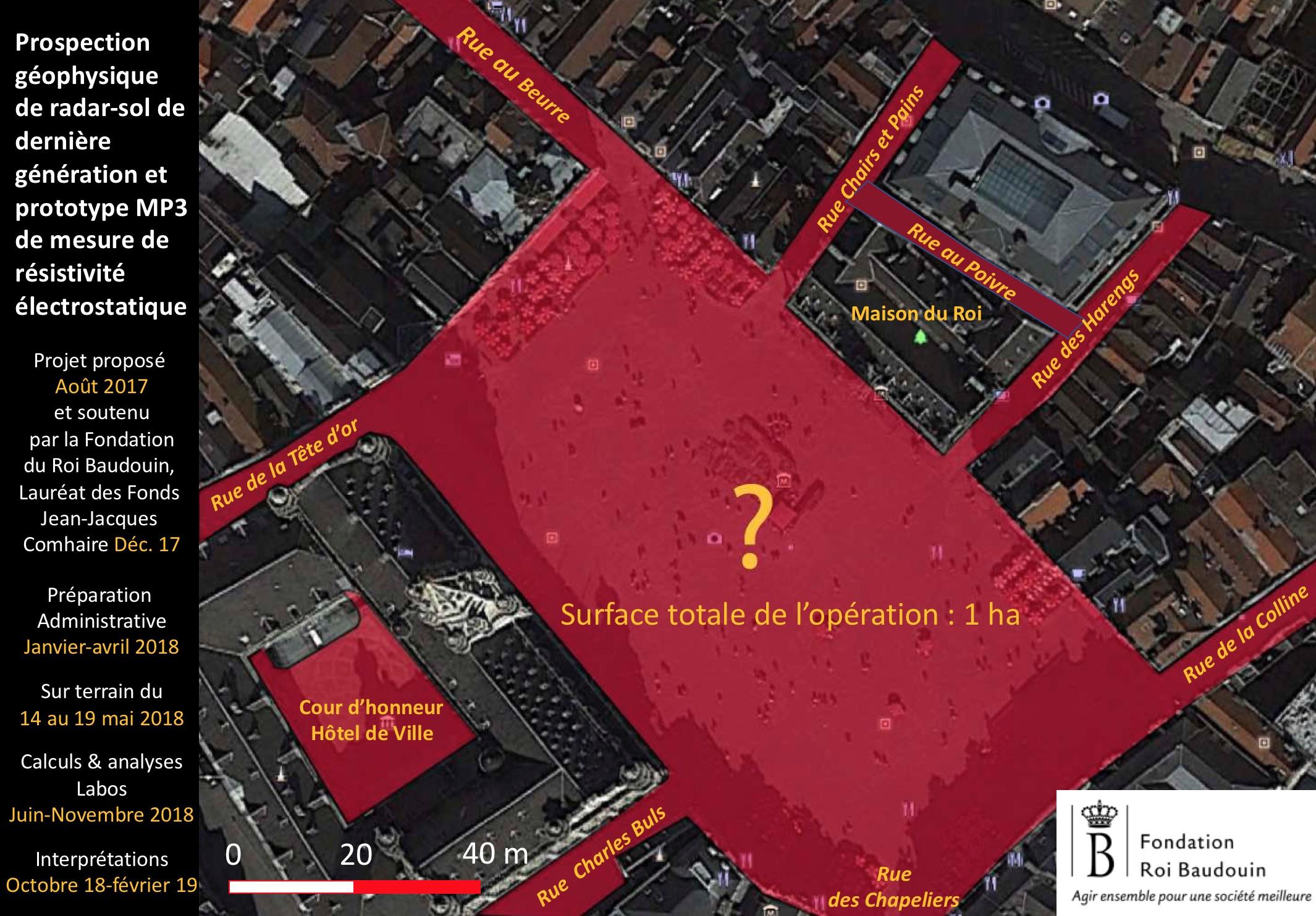 La Grand-Place de Bruxelles, la cour de l'Hôtel de Ville et les rues voisines ont été auscultées par l'équipe d'archéologues et leur radar de sol. © François Blary