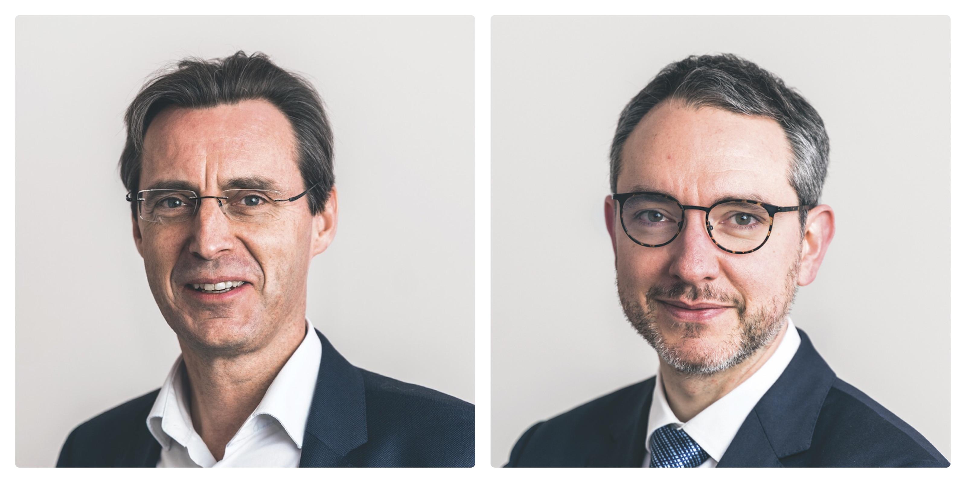 Le Pr Vincent Blondel (à gauche) et le Pr Sébastien Van Bellegem sont les deux candidats recteurs de l'UCLouvain.