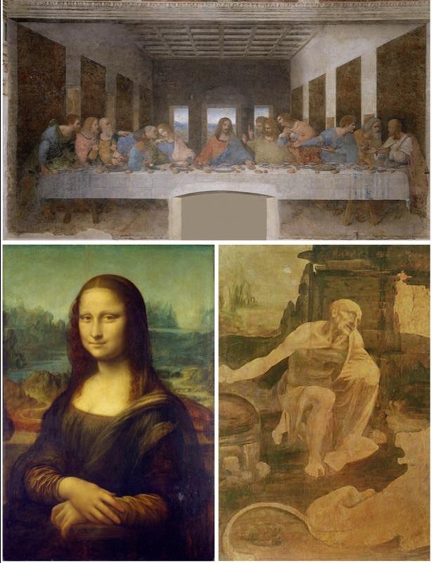 Trois des chefs-d'œuvre de Léonard de Vinci : La Dernière Cène, une œuvre réalisée par Léonard de Vinci en 3 ans mais dont l'utilisation d'une technique de fresque incorrecte a entraîné une détérioration rapide, indique le chercheur. En bas à gauche : la célèbre Mona Lisa, une oeuvre sur laquelle de Vinci a travaillé pendant… 16 ans, et à droite, la peinture inachevée de Saint Jérôme dans le désert.