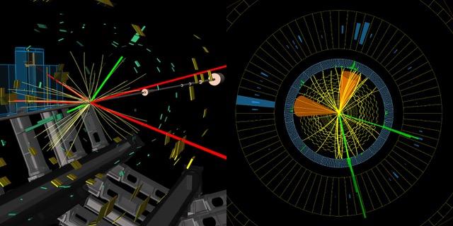 Illu: Candidats d'un boson de Higgs produit avec un boson Z. ATLAS (à gauche) : les deux se désintègrent laissant à la fin deux électrons (en vert) et quatre muons (en rouge). CMS (à droite) : le boson de Higgs se désintègre en deux quarks c, générant des jets (cônes) ; le boson Z se désintègre en deux électrons (en vert) (Image : ATLAS/CMS/CERN)