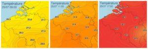 Records de températures en Belgique, le 25 juillet 2019. (Source: IRM)
