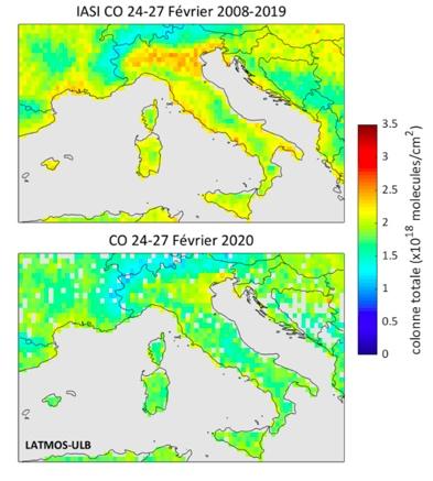 Monoxyde de carbone mesuré par la mission satellite IASI en Italie. Crédit : Maya George (LATMOS/CNRS).