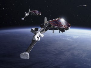 Satellites SWARM en orbite (vue d'artiste)  © ESA