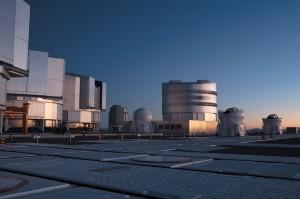 The Very Large Telescope (VLT) site at sunrise taken in December 2005.
