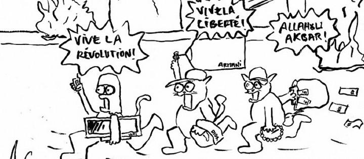 """Printemps arabe : extrait d'une caricature signée et © """"Willis from Tunis""""."""