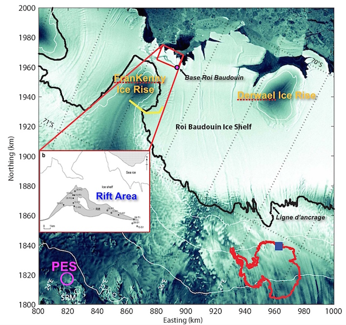 Localisation de l'Ice Shelf Roi Baudouin et de la Station polaire belge Princess Elisabeth (PES). © ULB, Pr Tison