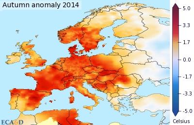 Anomalie des températures moyennes en automne. © KNMI