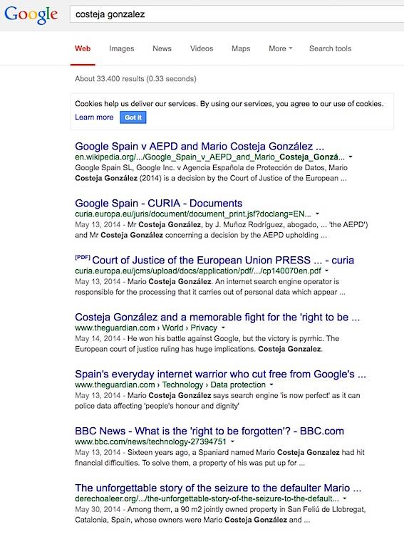 recherche web droit a l oubli google spain