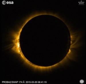 Éclipse de Soleil du 20 mars 2015 vue par l'instrument SWAP sur le satellite PROBA 2.