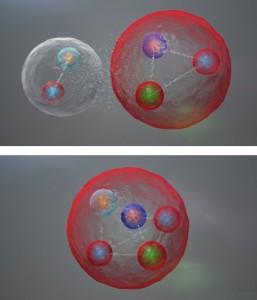 Illustration de l'agencement possible des quarks dans une particule pentaquarks comme celles découvertes par LHCb. Les cinq quarks pourraient être liés étroitement. Ils pourraient aussi être rassemblés en un méson (un quark et un antiquark) et un baryon (trois quarks) faiblement liés entre eux. » © CERN / LHCb Collaboration