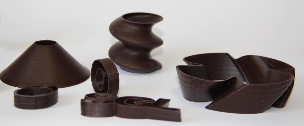 Récipients alimentaires imprimés en chocolat.