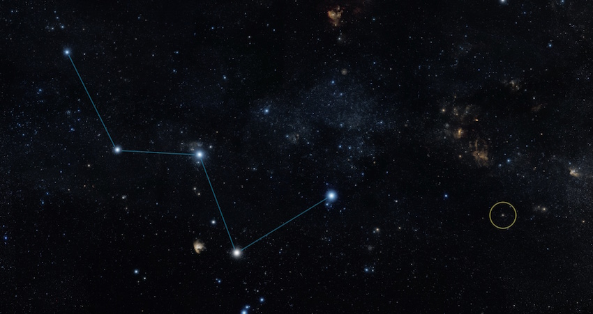 Localisation de l'exoplanète tellurique par rapport à la constellation de Cassiopée.