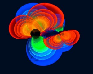 Voici une représentation de deux trous noirs tournoyant l'un autour de l'autre et qui à terme pourraient fusionner pour former un nouveau trou noir. Les couleurs représentent les quantités d'ondes gravitationnelles émises par le système. Il s'agit d'un simulation numérique visant à évaluer l'intensité des ondes gravitationnelles produites par un tel événement. Les auteurs de ce travail estiment que ce système pourrait perdre jusqu'à 10 % de sa masse en ondes gravitationnelles.  © C. Reisswig, L. Rezzolla, Max-Planck-Institut für Gravitationsphysik (Albert-Einstein-Institut/AEI)/ M. Koppitz, Max-Planck-Institut für Gravitationsphysik (Albert-Einstein-Institut/AEI)/ Zuse-Institut Berlin