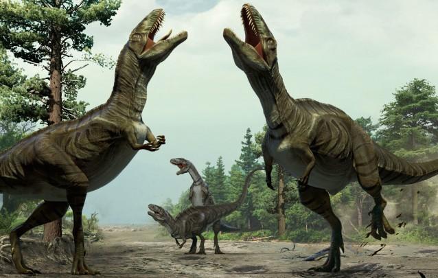 Reconstitution d'une parade nuptiale chez les dinosaures. ©  Xing Lida & Yujiang Han