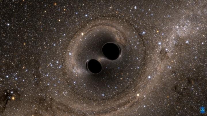 Fusion de deux trous noirs :   la fusion de deux trous noirs  a généré les ondes gravitationnelles détectées par LIGO © SXS