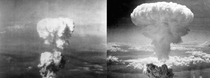 Champignons atomiques sur Hiroshima et Nagasaki.