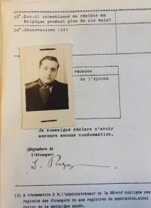 Archives de la Police des Etrangers: fiche signalétique du Pr Ilya Prigogine. (Cliquer pour agrandir)