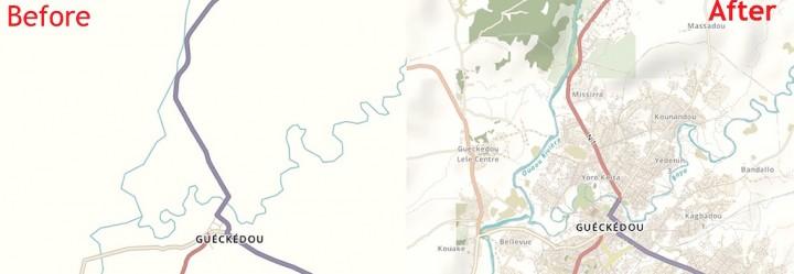 Guinée, épidémie d'Ebola, mars 2014. La carte de Guéckédou est complétée en 5 jours, par 244 volontaires.
