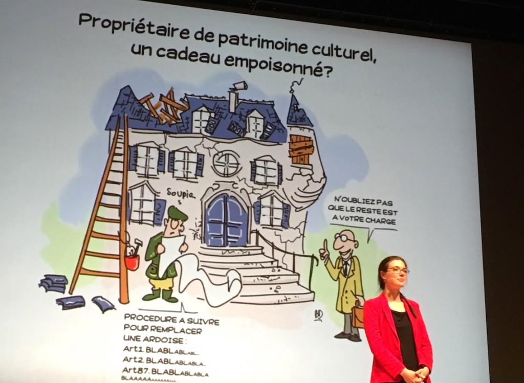 Marie-Sophie de Clippele, (USL) lors de la présentation sur scène de sa thèse en 180 secondes.