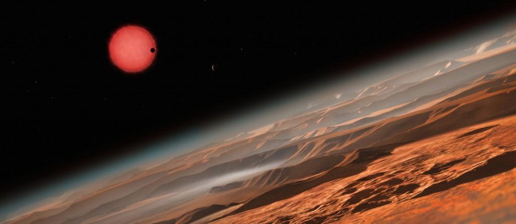 """Représentation d'une des trois exoplanètes découvertes par les astronomes de l'ULg, grâce au télescope """"Trappist"""" et qui orbitent autour d'une étoile naine située à 40 années-lumière de la Terre. Illustration : ESO/M. Kornmesser"""