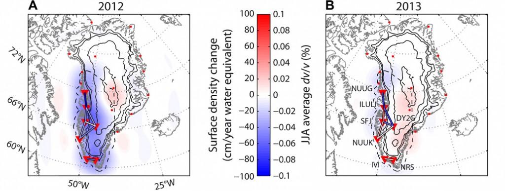 Évolution de la calotte polaire groenlandaise telle que dérivée de l'analyse du bruit de fond sismique dans la région. Les triangles inversés donnent la localisation des sismomètres utilisés par le Dr Mordret. (Cliquer pour agrandir)