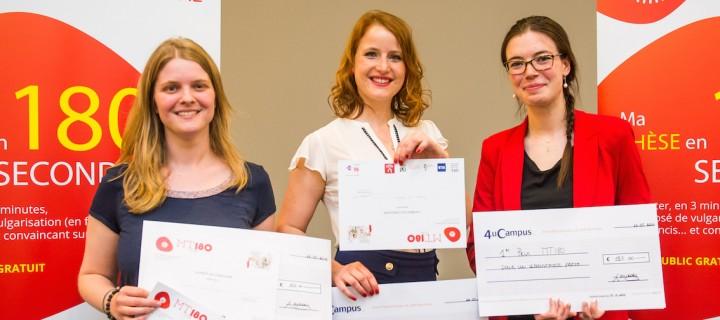 Les lauréates de MT180 en Belgique. De gauche à droite: Ludivine Van Den Biggelaar (UCL), Delphine Del Marmol (UNamur) et Marie-Sophie de Clippele (USL). © Thomas Blairon