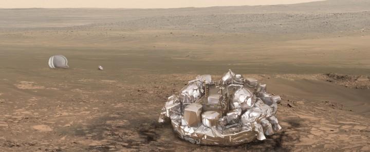Dans quel état se trouve la sonde Schiaparelli à la surface de Mars? C'est l'inconnue... © ESA Exomars 2016