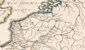 Extrait de la « toile » des routes postales en France (1632).