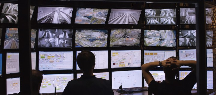 security guards watching video monitoring surveillance security system