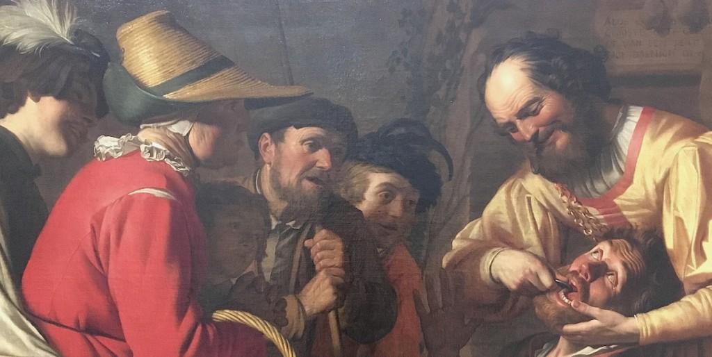 «L'arracheur de dents», vers 1627. Huile sur Toile de Van Honthorst. Musée du Louvre, Paris.
