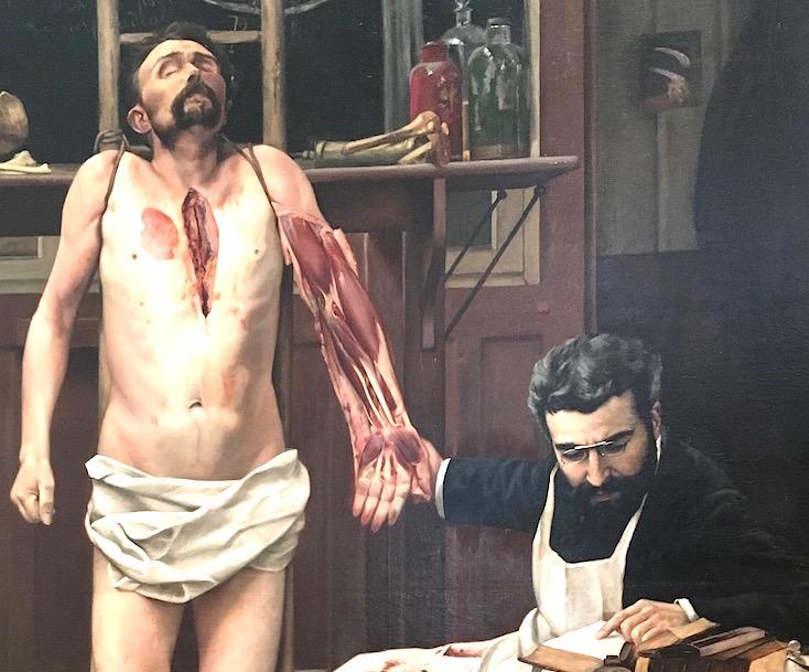 Paul Poirier vérifiant une dissection (1886) par Georges Chicotot. Collection de la Faculté de médecine de l'Université de Montpellier.