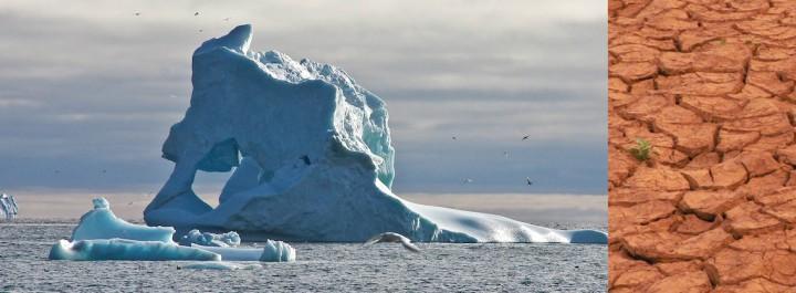 Iceberg flottant à proximité des côtes de Qeqertarsuaq, île de Disko au Groenland et sécheresse au Sahel. © Romain Schlappy et D. Rechner
