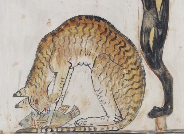 Détail d'une peinture d'Anna Macpherson Davies d'un chat en train de manger un poisson, d'après une fresque dans la tombe privée 52 de Nakht, Thèbes, Egypte. © Ashmolean museum, Oxford.