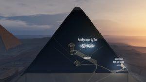 Localisation de la nouvelle cavité détectée par muongraphie. © Scan Pyramids. (Cliquer pour agrandir)